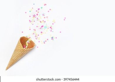 Mock-up white background. Party desktop. Confetti. ice scream cone