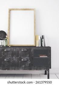 mockup white big frame in stylish interior