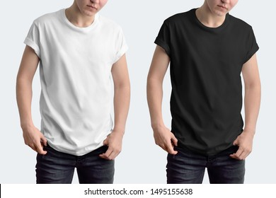 Mockup white and black t-shirt with rolled up sleeves on a young guy. Template isolated on a white background.