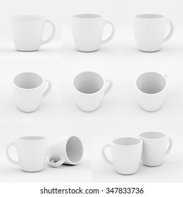 Mockup of white china cup. Several views of porcelain white cup.
