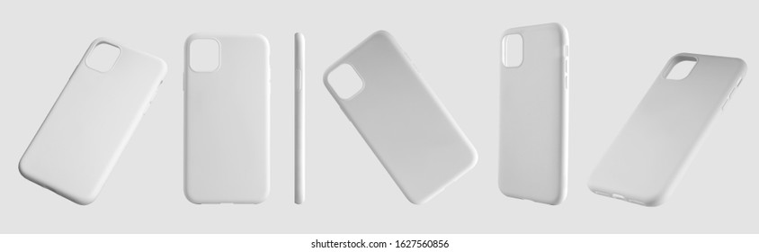 Mockup of white plastic cases for mobile phones, a set of 6 containers in different positions. Smartphone cover template for presentation of design and advertising in the online store