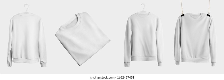 Mockup of white textile heather hanging on a hanger and rope, front, back view, for presentation design. Folded and incline sweatshirt template isolated on background. Set of fashion branded pullovers