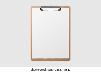 Mockup of wooden clipboard with folded blank paper isolated on light grey background.