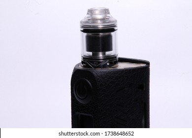 Mod vapes with RTA (Rebuildable Tank Atomizer) on a white background.  The concept of vaping.  VAPE shop.  Smoking electronic cigarette