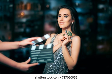 Model Acting in Perfume Commercial Ready to Film New Scene - Brand ambassador diva endorsing a product in cosmetics advertising campaigns