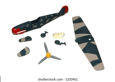A model airplane kit on a white background