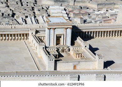 Model of ancient Jerusalem at the time of the second temple focusing on the Temple on the Temple Mount.