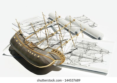 The model of an ancient ship on a white background.