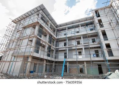 Model apartments building construction site