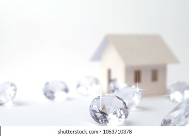 model architect house, buy and sale house business with group of diamonds on a white background. best position house, best seller gold position house