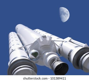 model of a Ariane rocket in front of blue sky with moon