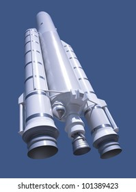model of a Ariane rocket in front of blue back