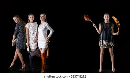 Model beautiful women in fashionable clothes and accessories shot isolated on a black background in the Studio