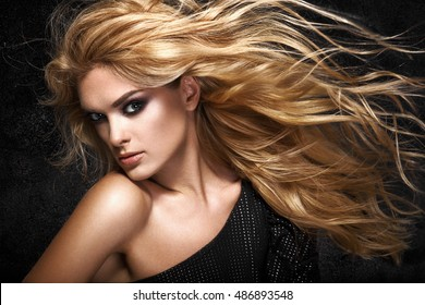 Model blonde girl. Beautiful brown hair Girl. Healthy Long Hair.