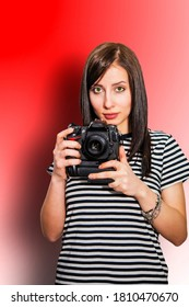 model with camera, photographer, woman taking pictures