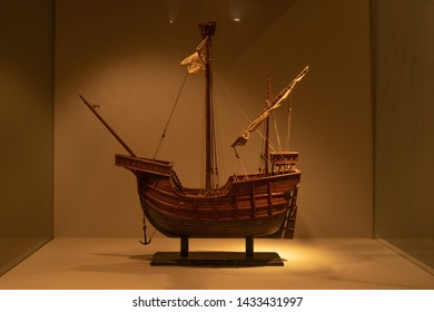 Model Caravel from the 15th century. Portuguese design, these ships were used for sustained oceanic exploration voyages.