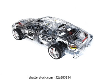 Model cars on a white background.3d render.