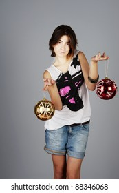 model with Christmas decoration
