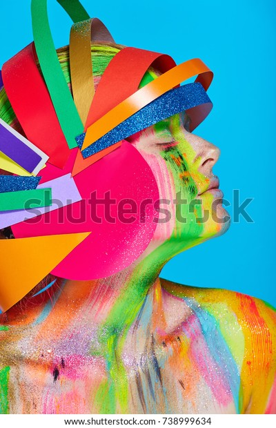 Model Colorful Abstract Makeup Multicolored Helmet Stock
