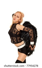 Model in costume of black angel posing for photo