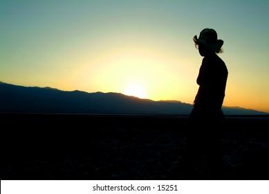 Model at Death Valley Salt Flats, California