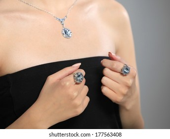A model displays of jewelery