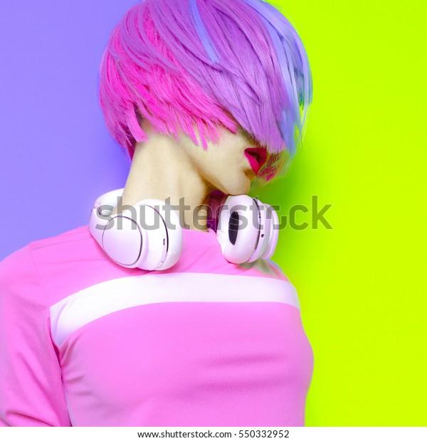 Model DJ Creative pop art style. Minimal design fashion Sweet colors