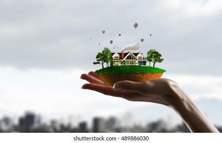 Model of eco life . Mixed media