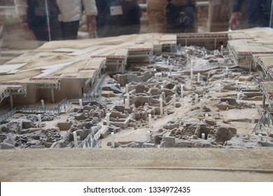 Model of the excavations of the ancient ruins of Akrotiri, Santorini, Greece