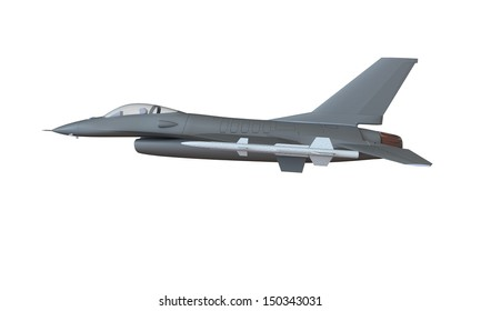 A model of an f16 in the air isolated on white