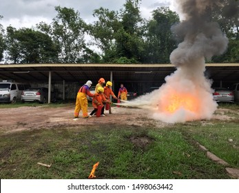 Model of fire drill to prevent fire occurring at the hospital at Nadi Hospital. Prachinburi Province in Thailand on 5 September 2019 by Disaster Prevention and Mitigation Officer.