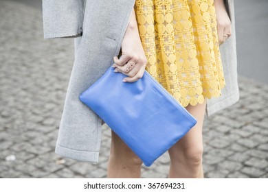Model Franziska Knuppe is pictured during the Mercedes-Benz Fashion Week Berlin Autumn/Winter 2016 at Brandenburg Gate in Berlin, Germany on January 21, 2016. Detail of the blue bag