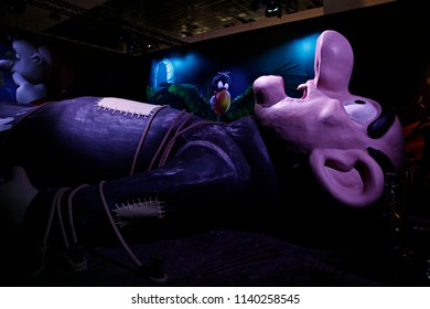 A model of Gargamel is displayed in Smurfs' Village, which was set up to celebrate their 60th birthday in Brussels, Belgium on June 11, 2018.