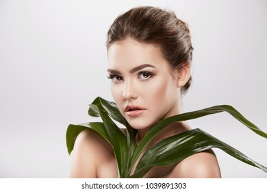 Model girl with nude make up and naked shoulders posing at grey background, skin care concept, hydrated skin, holing green plant, beauty photo, skin treatment concept.