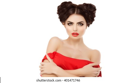 Model, Girl with red lips hairstyle, braids of hair heart shaped, love. Hair Salon. Updo. Fashion model with shiny hair. Woman healthy hair girl with luxurious volume haircut Manicure with nail polish