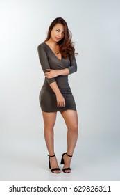 model girl in studio posing
