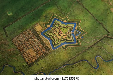 Model of Goryokaku Park in Hakodate, Hokkaido, Japan was originally a star fort designed in 1855.