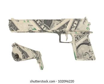 Model of a gun made by dollar bills