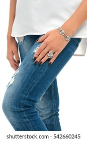 model hands with bracelet and finger ring. Spring jewelry collection of silver accessory