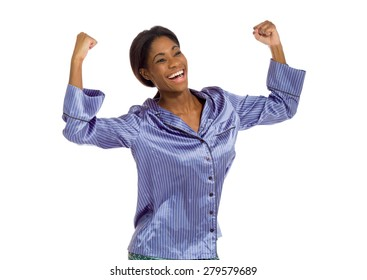Model happy successful arms in the air
