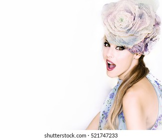 model hat flower make up