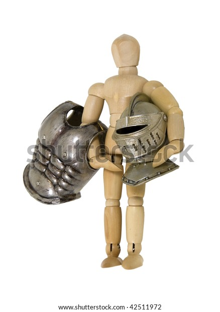 Model holding several pieces of medieval armor - path included