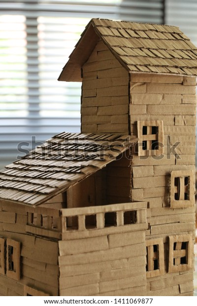 Model Home Create By Cardboard Make Stock Photo (Edit Now