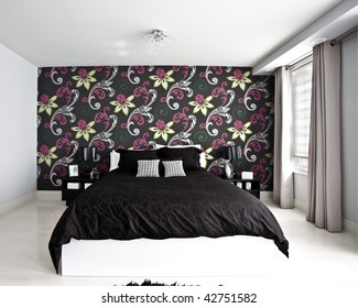 Model home interior bedroom with black and white color layout