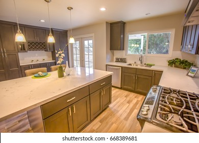 Model home kitchen in southern California ready for a real estate shoot
