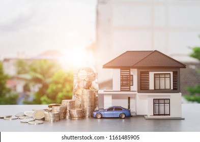 Model house and car with your deposit money.Real estate and mortgage investment concept.