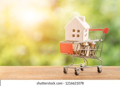 Model house and coin in shopping cart concept for mortgage saving on white background