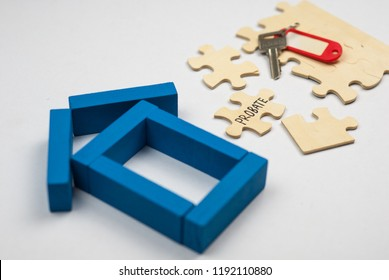 Model  house made from wooden block and wooden puzzle with text probate on white background. Property and mortgage concept.