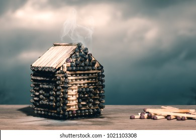 Model of a house of matches.