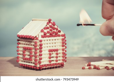 Model of a house of matches. Concept